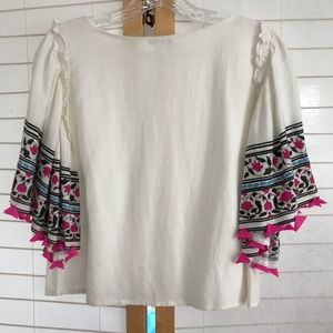 Club Monaco Small butterfly sleeve top white pink